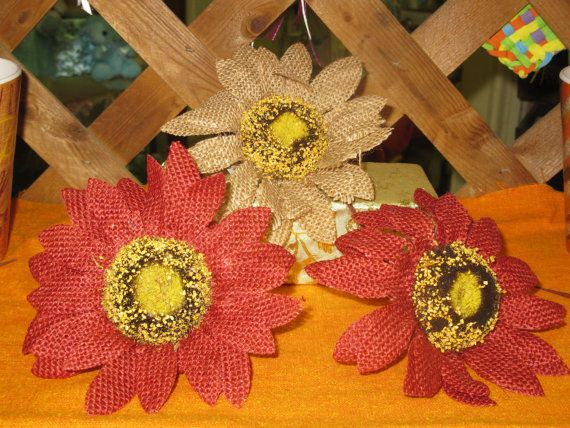 These burlap sunflowers come in three different Fall colors and are the perfect accent for your rustic fall decorations. They can also be