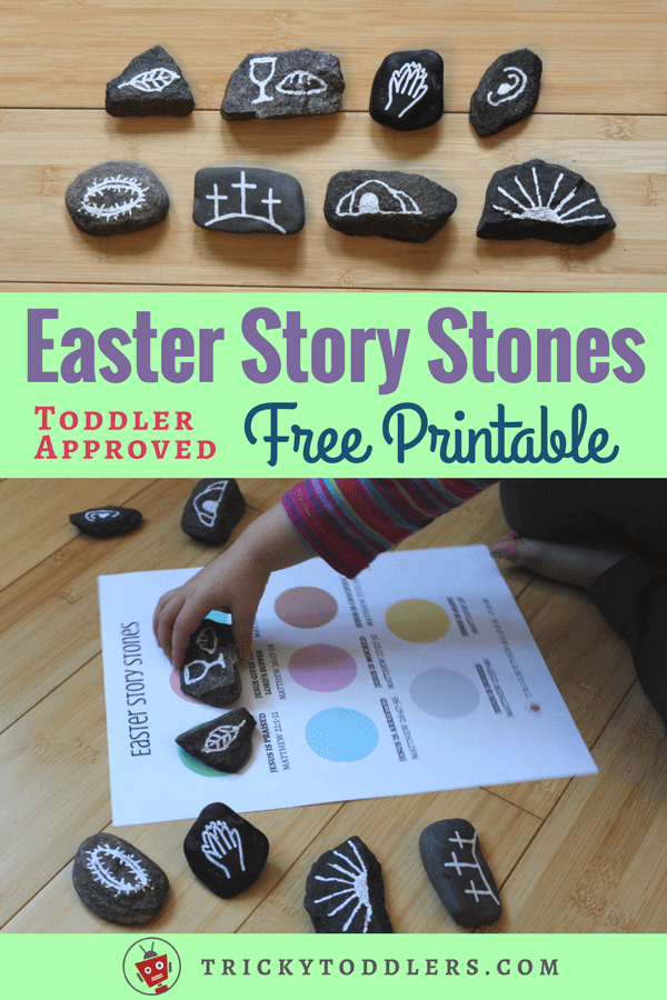 How to make Easter Story Stones, with a FREE printable sequencing page with corresponding scriptures. Great for teaching toddlers