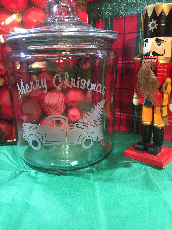 Etched cookie jar christmas cookie jar farmhouse cookie