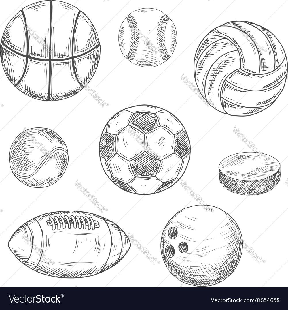 Sporting Balls And Hockey Puck Sketch Icons Vector Image Aff Hockey Puck Sporting Balls Ad Sketch Icon Creative Icon Vector Free