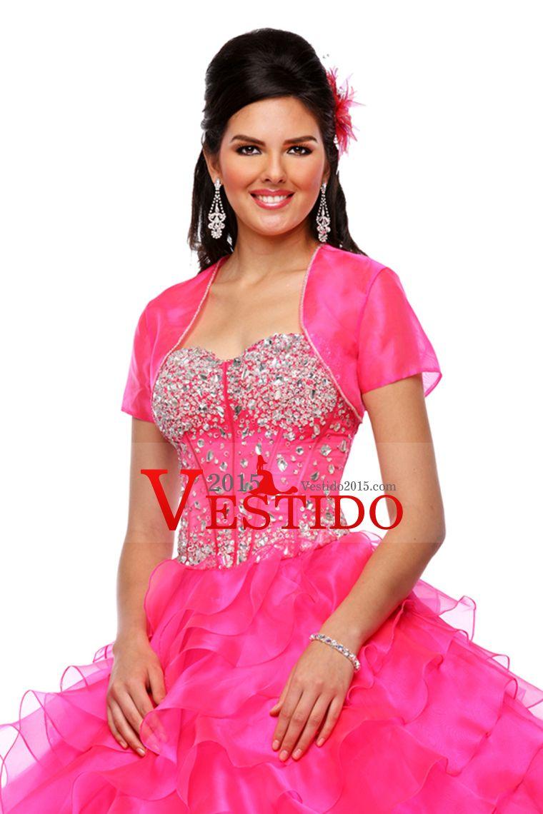 2015 Sweetheart Quinceañera vestidos de bola del vestido del Organza ...