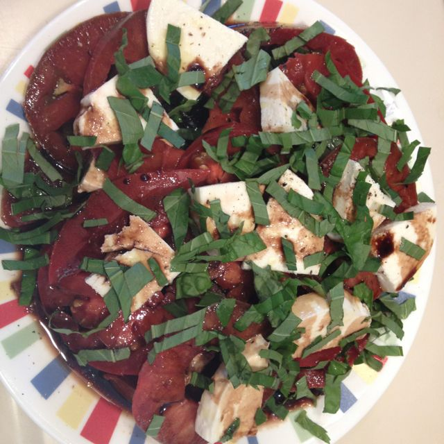 Caprese Salad with Olive Oil and Balsamic Vinegar from Olive Destination. Yumm!
