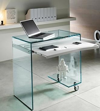 Clear Wheels Tonneli Work Box Desk Glass Computer Desks Glass Desk Glass Office Furniture