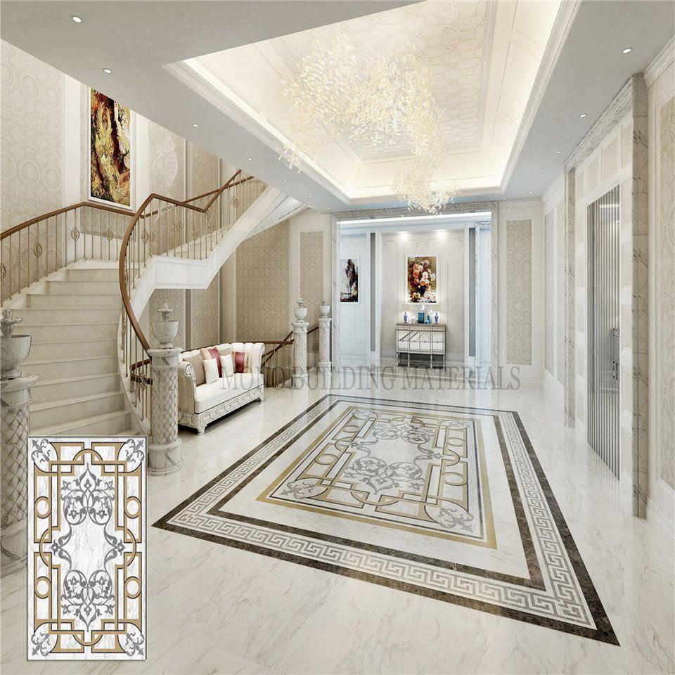 Inlay Medallion Flower Porcelain Tile Flooring Designs Style
