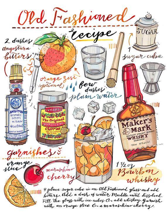 Old Fashioned Cocktail Print Illustration Bar Decor Food Etsy Old Fashioned Drink Old Fashioned Cocktail Cocktail Illustration