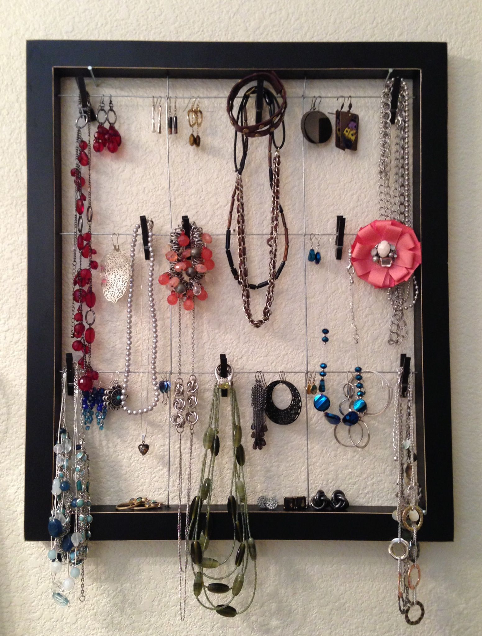 Jewelry Organization Using An Old Pier 1 Collage Clothespin Picture