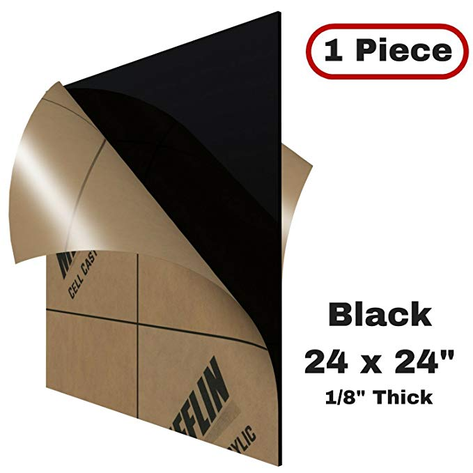 Amazon Com Mifflin Cast Plexiglass Sheet Opaque Black 1 Piece 24 X24 0 118 1 8 In Thick Acrylic Plexiglass Sheets Clear Plastic Sheets Cast Acrylic