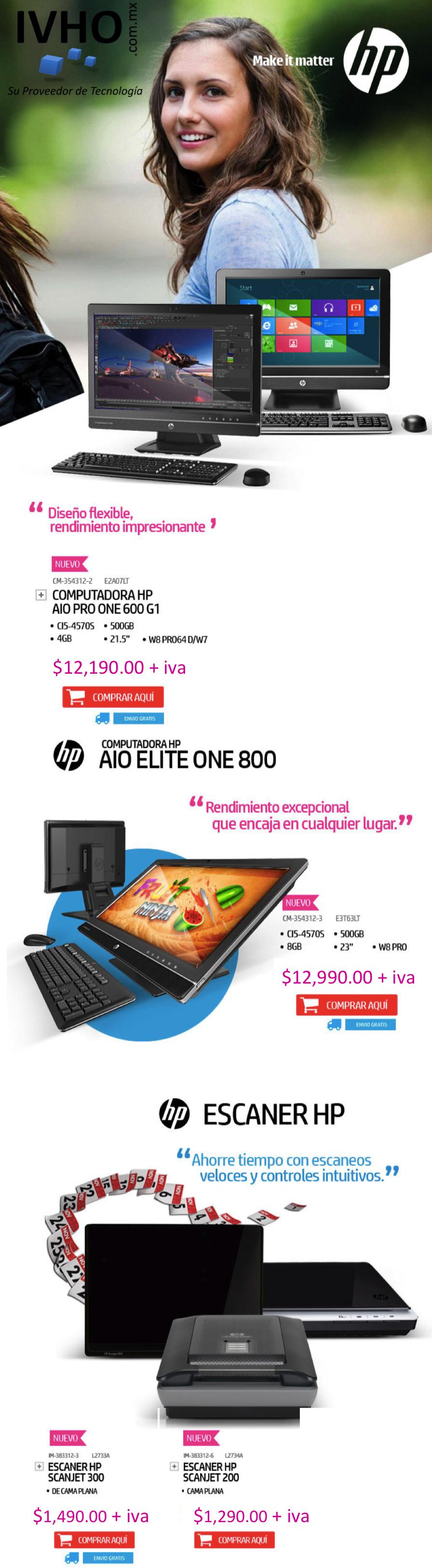 ¡Nuevos equipos HP con disponibilidad inmediata y entrega sin costo!