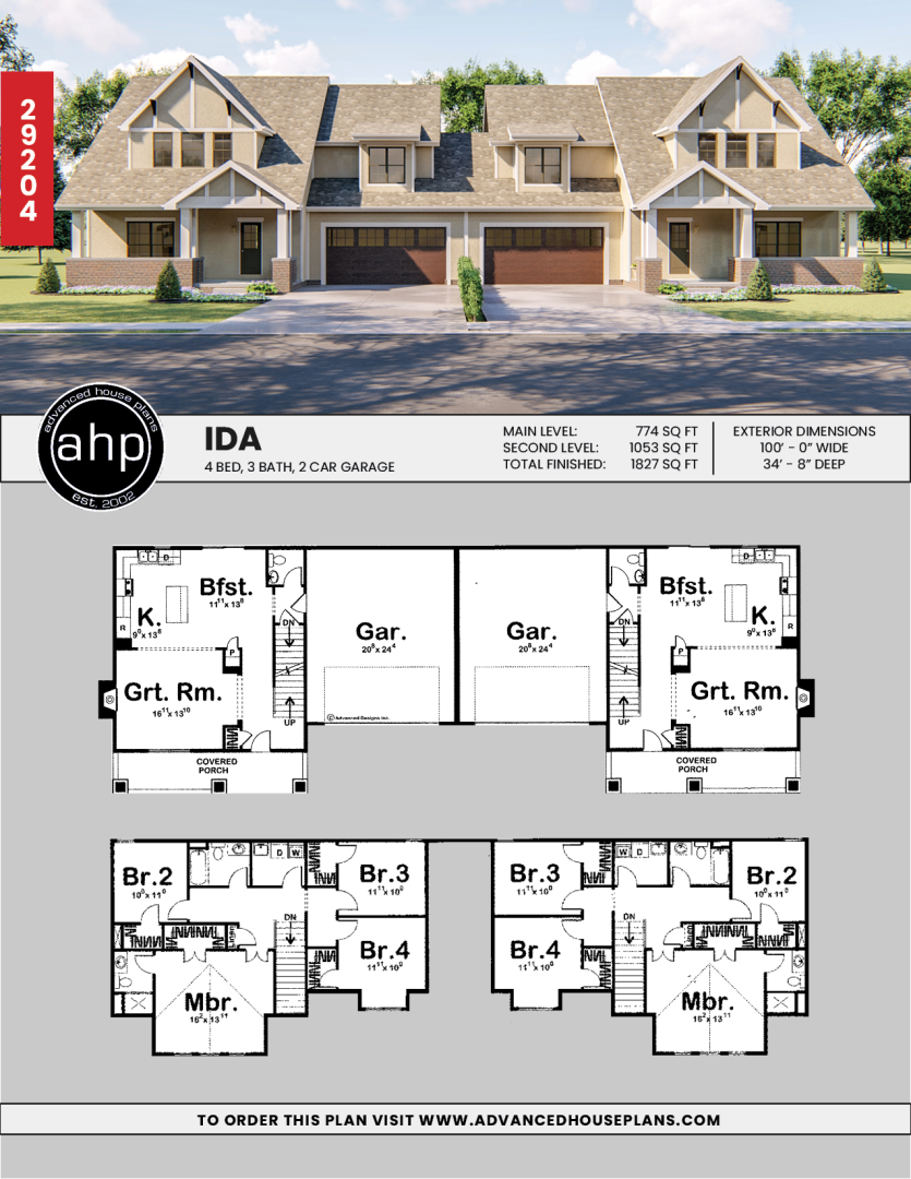 2 Story Multi Family Craftsman House Plan Ida Beach House Plans Family House Plans Craftsman House Plan