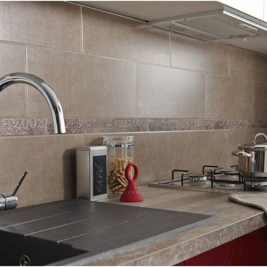 Faïence mur taupe, Antares l.20 x L.50 cm | Revetement mural cuisine, Carrelage mural cuisine ...