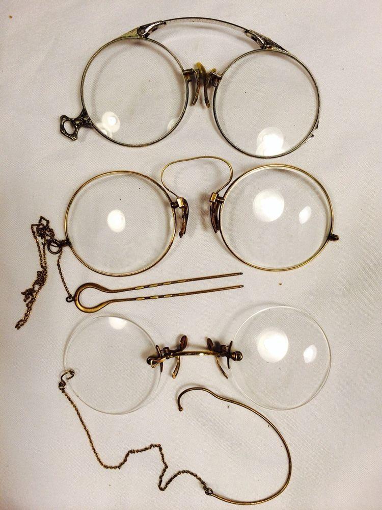 3e8a0b1ec23 Ebay auction  Antique Eyeglasses Lot Vintage Pince Nez 12K Gf Streamline -  gold pince nez with hairpin ( )