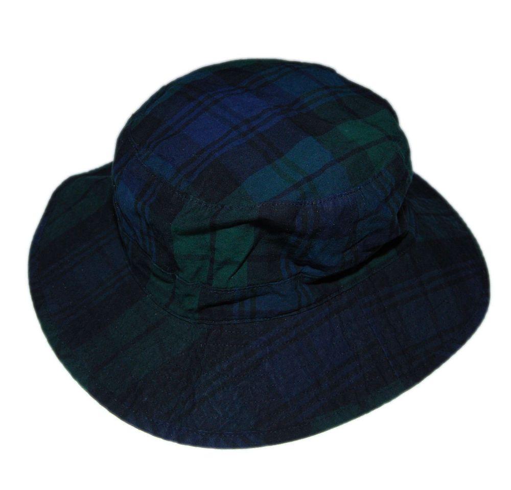 1f586884f9e Polo Ralph Lauren Mens Wide Brim Hat Bucket Tartan Plaid Navy Blue Green  L XL (eBay Link)