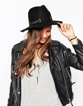fb9c3484e5c4de ASOS Felt Fedora Hat With D Ring Detail Black Wide Brim Hat, Wide Brim  Fedora