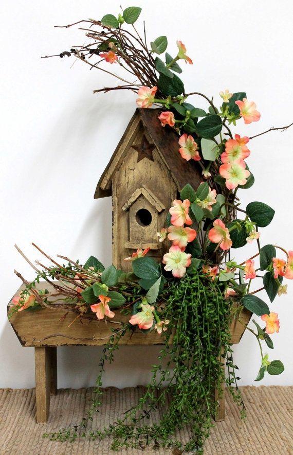 Birdhouse Floral Arrangements Country Floral Incorporated Into Rustic Birdhouse Flowers Flo Rustic Floral Decor Front Porch Decorating Porch Decorating