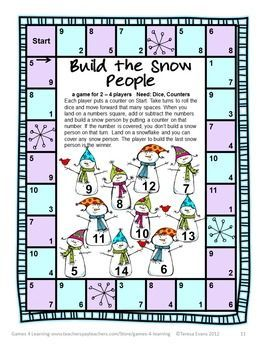 SNOWMAN MATH GAMES ADDITION AND SUBTRACTION $ 7 Printable math board games from Games 4 Learning