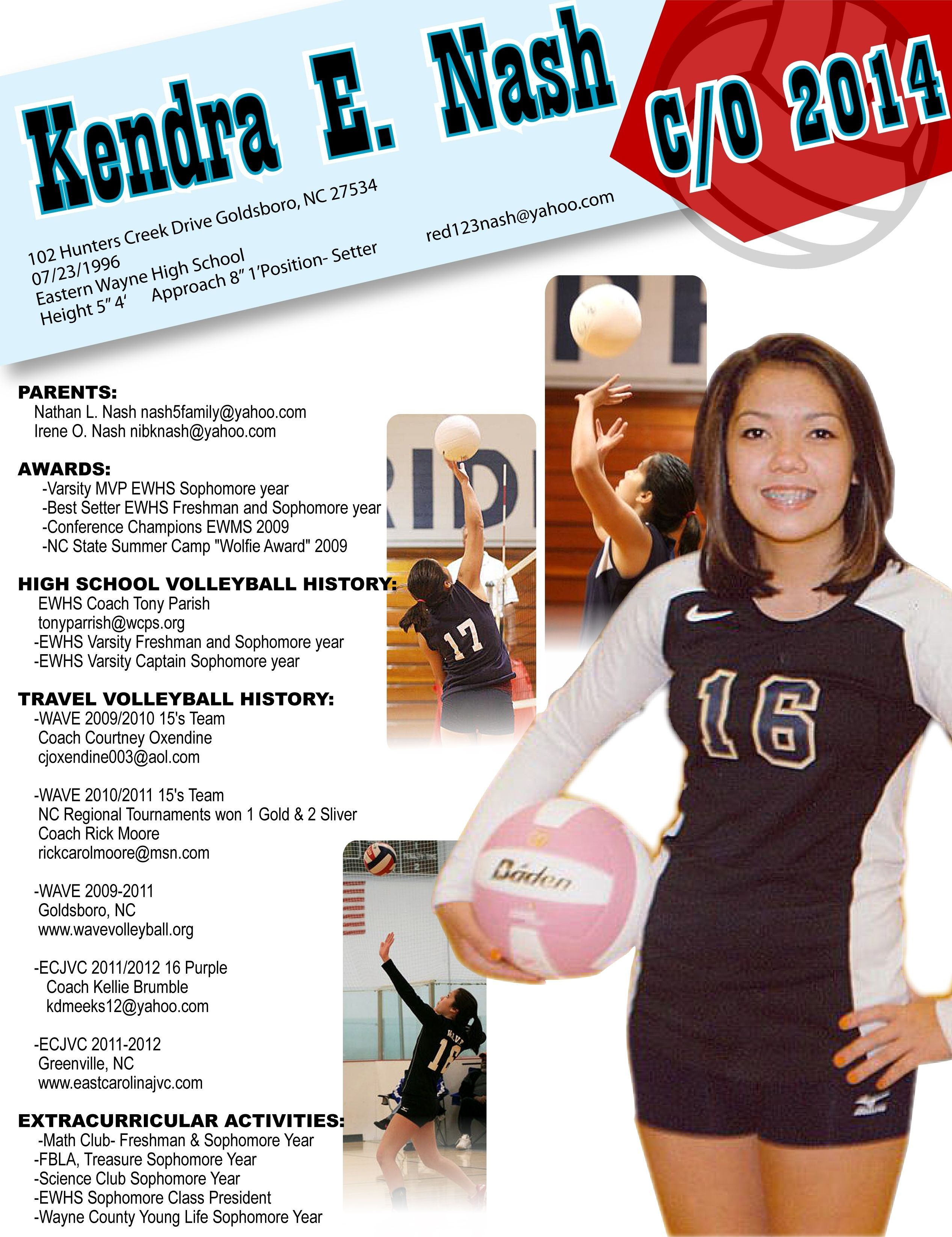 Kendra Recruiting Flyer Resume College Cheer Sophomore Year Sophomore