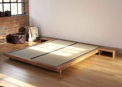 Futon Company Solid Acacia Bed Frame With Tatami Mats King Size