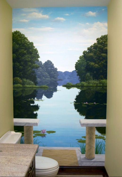 Mural expands small bathroom | Mural painting, Bathroom ...
