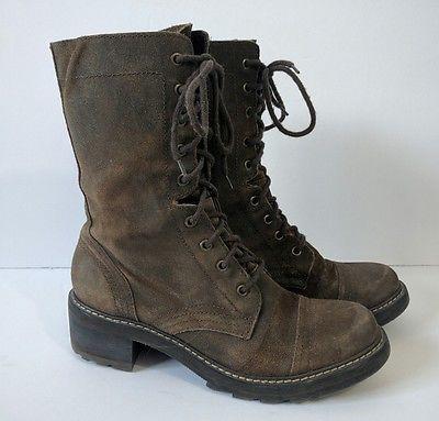 71324b2c26554 Donald Pliner Gita Combat Boots Size 9 M Brown Suede Distressed Lace ...