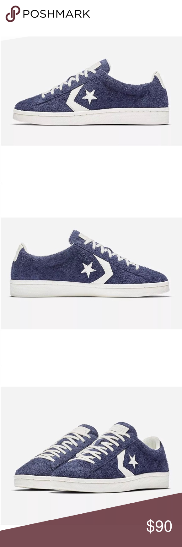 9f39a885ce3 Converse Pro Leather Ox Blue Vintage Suede Low Top A timeless kick since   76. Updated pro leather shape and branding. Lunarlon sockliner for  superior ...