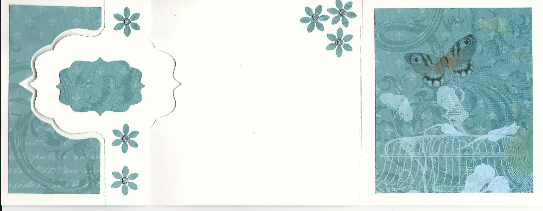Flip card.  Butterfly, inside. Flower punch.
