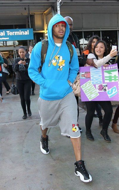 22959562e97438 Chris Brown in the Air  Jordan 12s