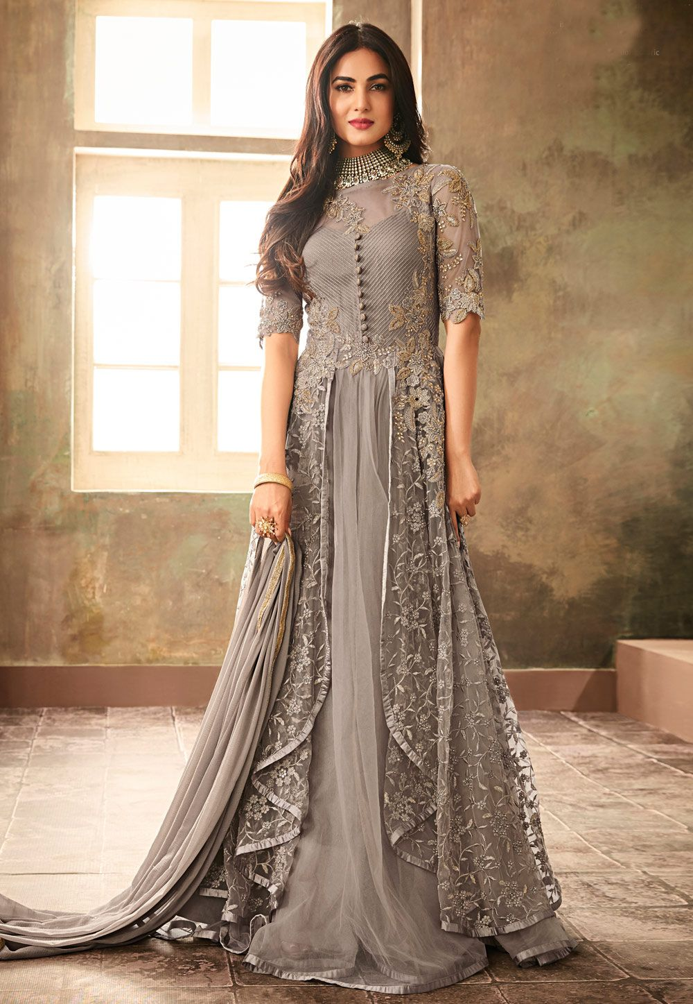24004044ac19 Buy Sonal Chauhan Gray Net Floor Length Anarkali Suit 157229 online at  lowest price from huge collection of salwar kameez at Indianclothstore.com.