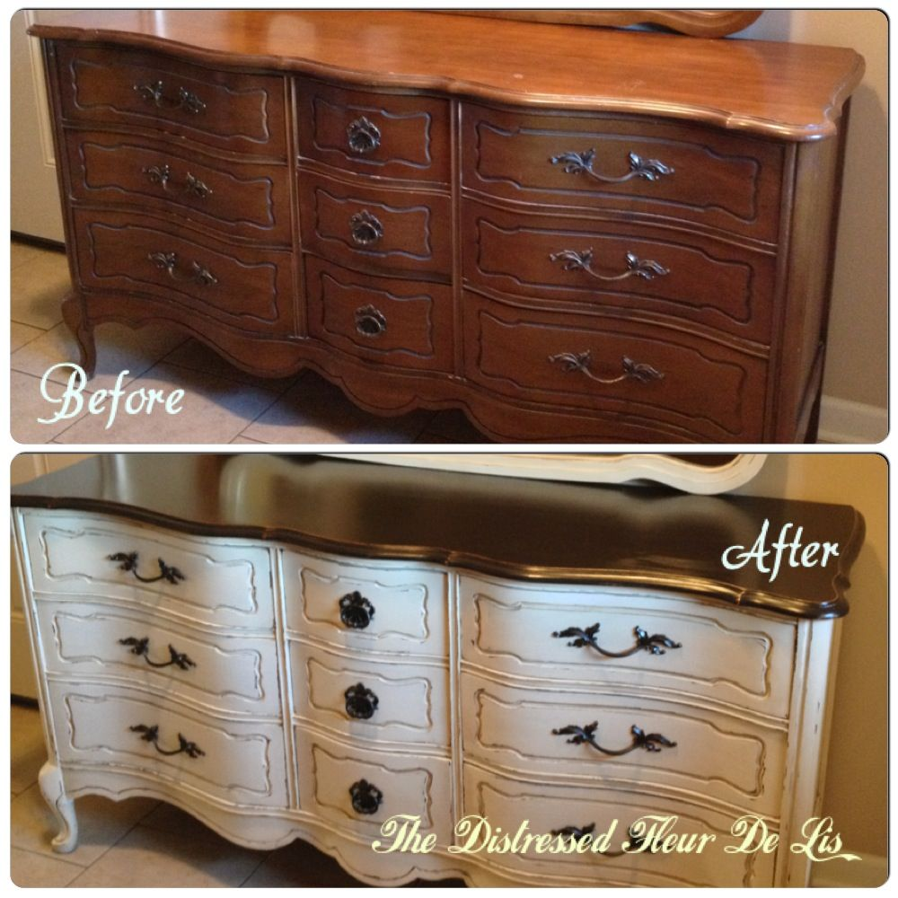 Charmant Before And After On A Bassett French Provincial Dresser. It Was Painted In  General Finishes Antique White And The Top Was Stained With Java Gel Stain.