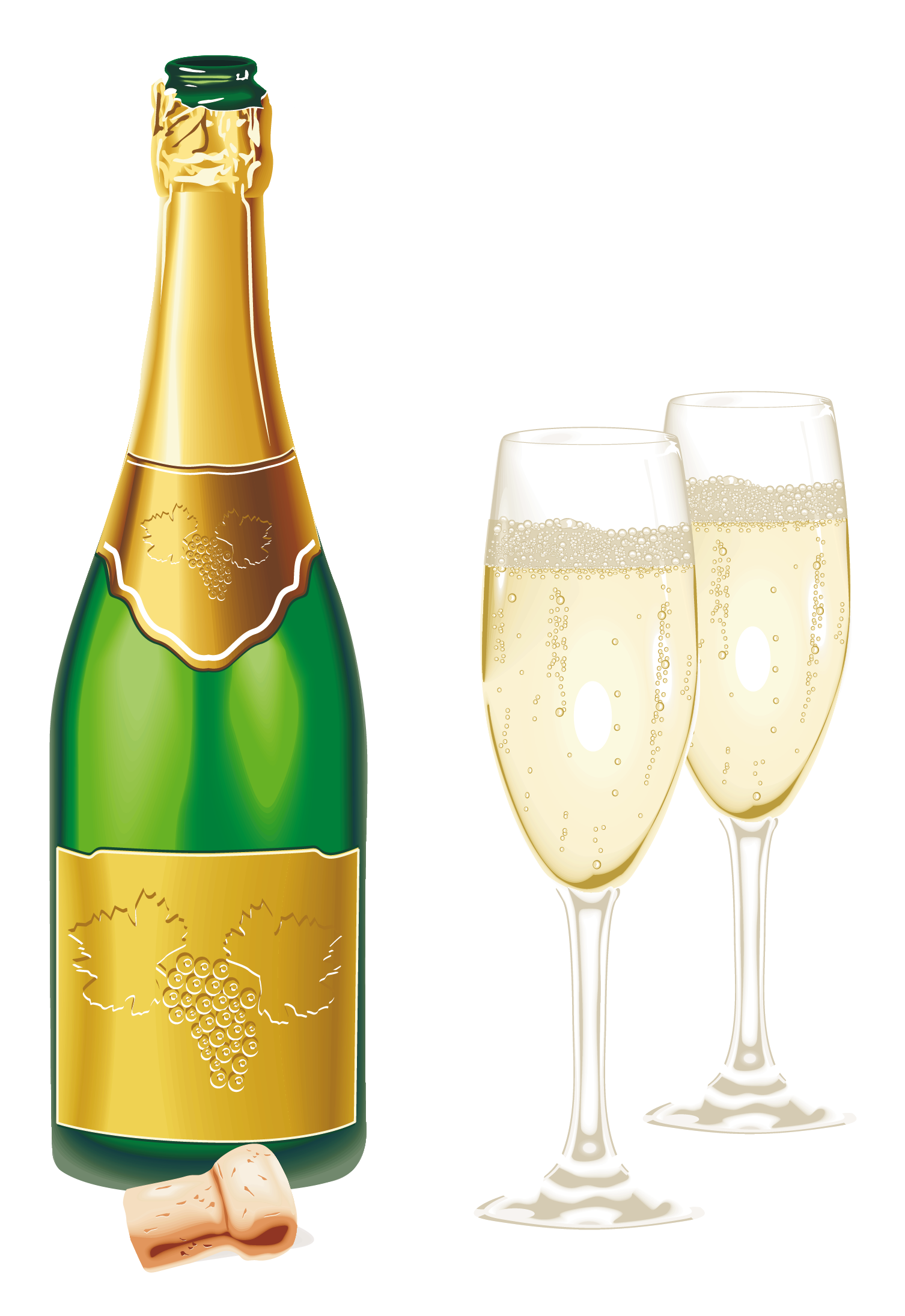 New Year Open Champagne With Glasses Png Picture Wine Bottle