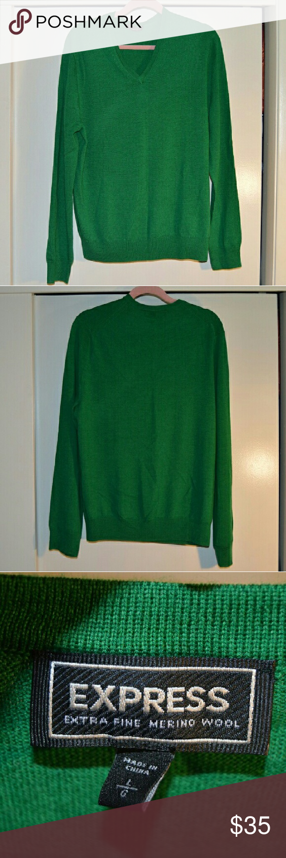 Express Men's 100% Merino Wool Sweater Size Large Express Men's Green 100% Merino Wool Sweater Size Large. Never worn. Express Sweaters V-Neck