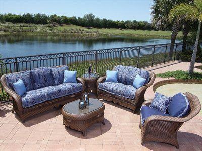 Tremendous Suncoast Royal Palm Cushion Patio Wicker Lounge Set By Download Free Architecture Designs Embacsunscenecom