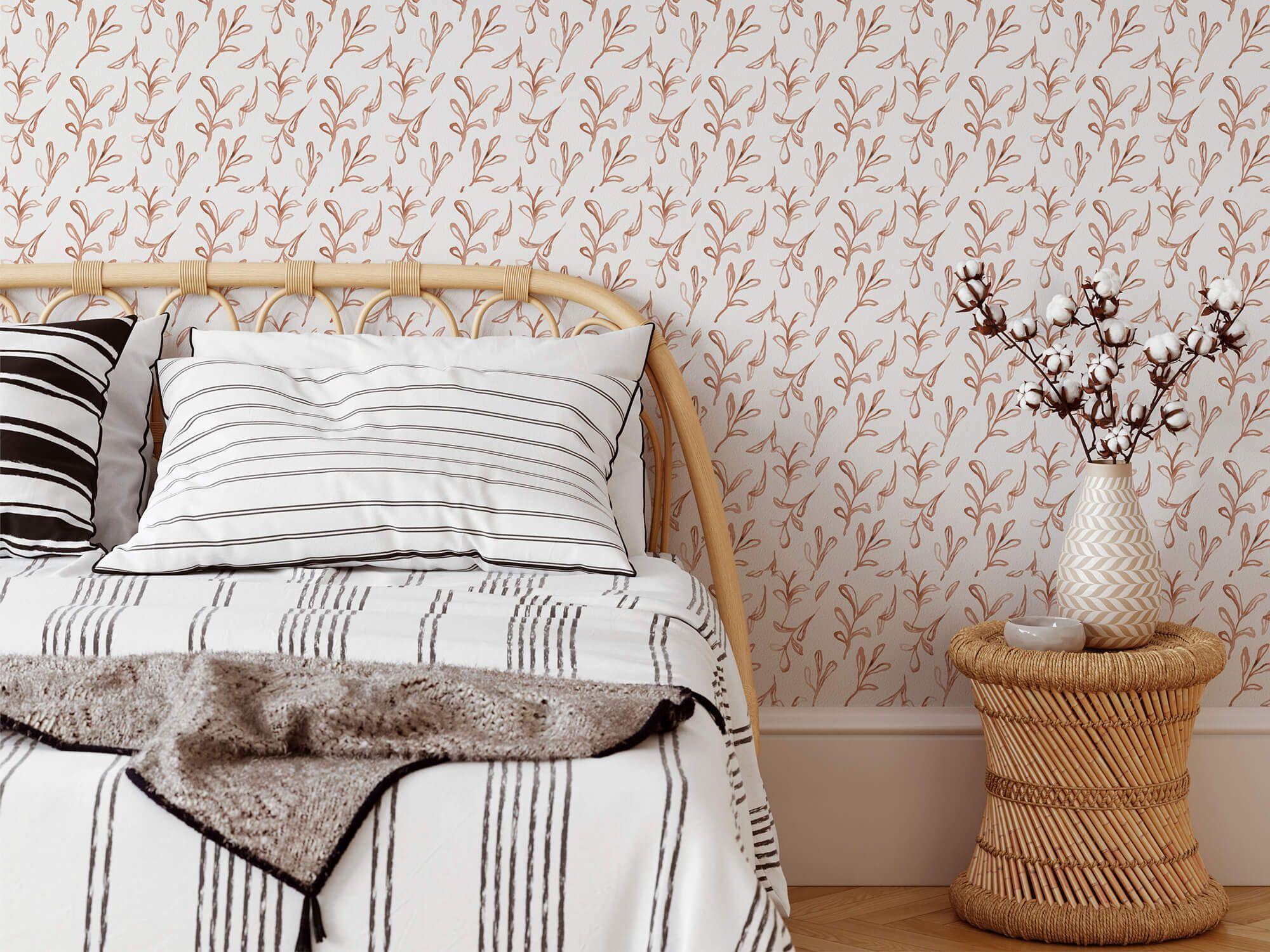 Terracotta Leaf Removable Wallpaper Removable Wallpaper Neutral Wallpaper Home Decor