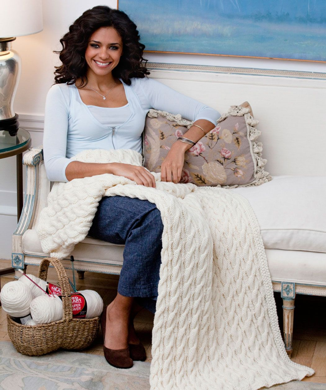 Cabled Classic Throw-Worsted Weight (4) [ Free Knit Pattern ...