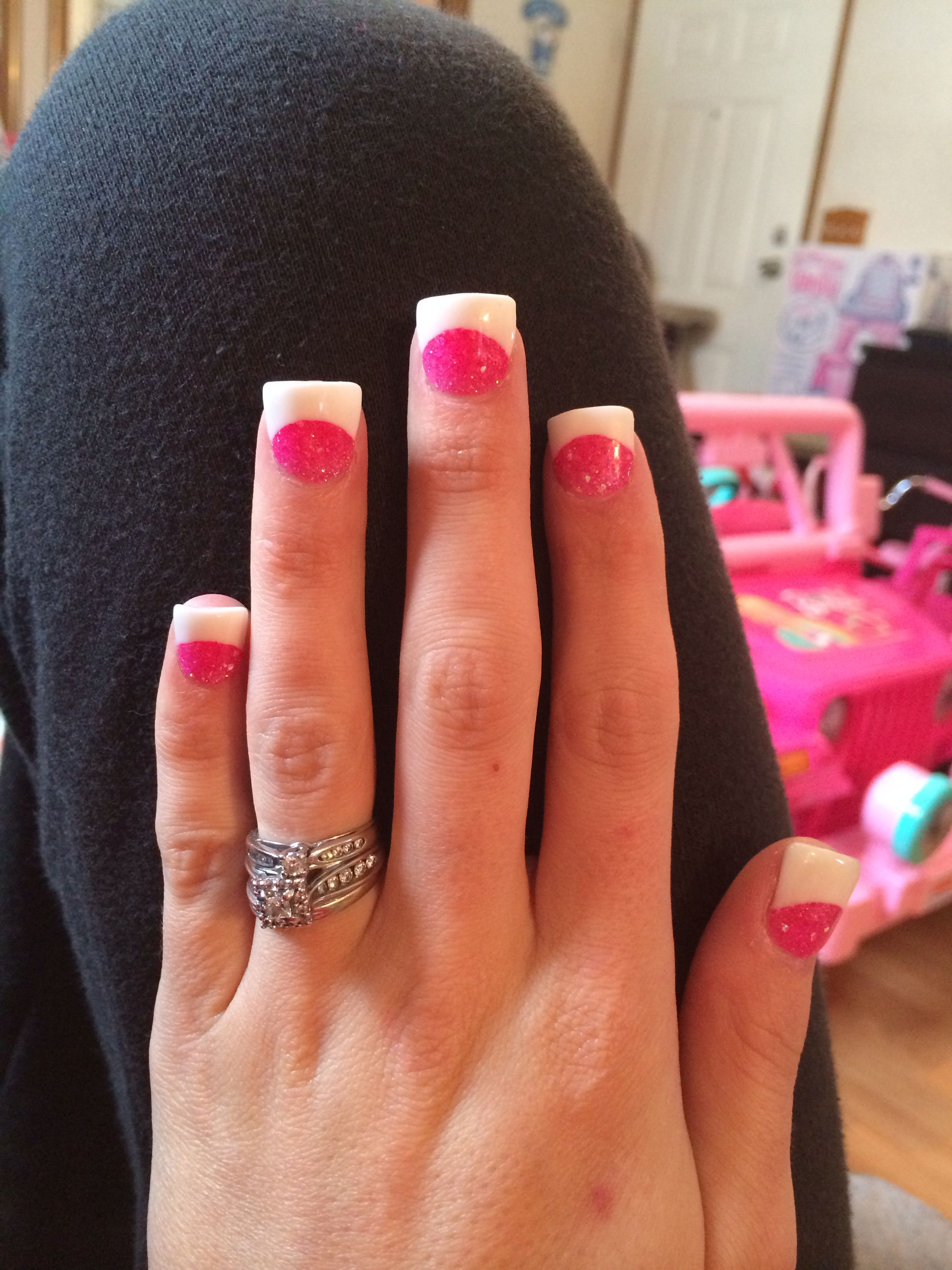 Pink White Solar Nails