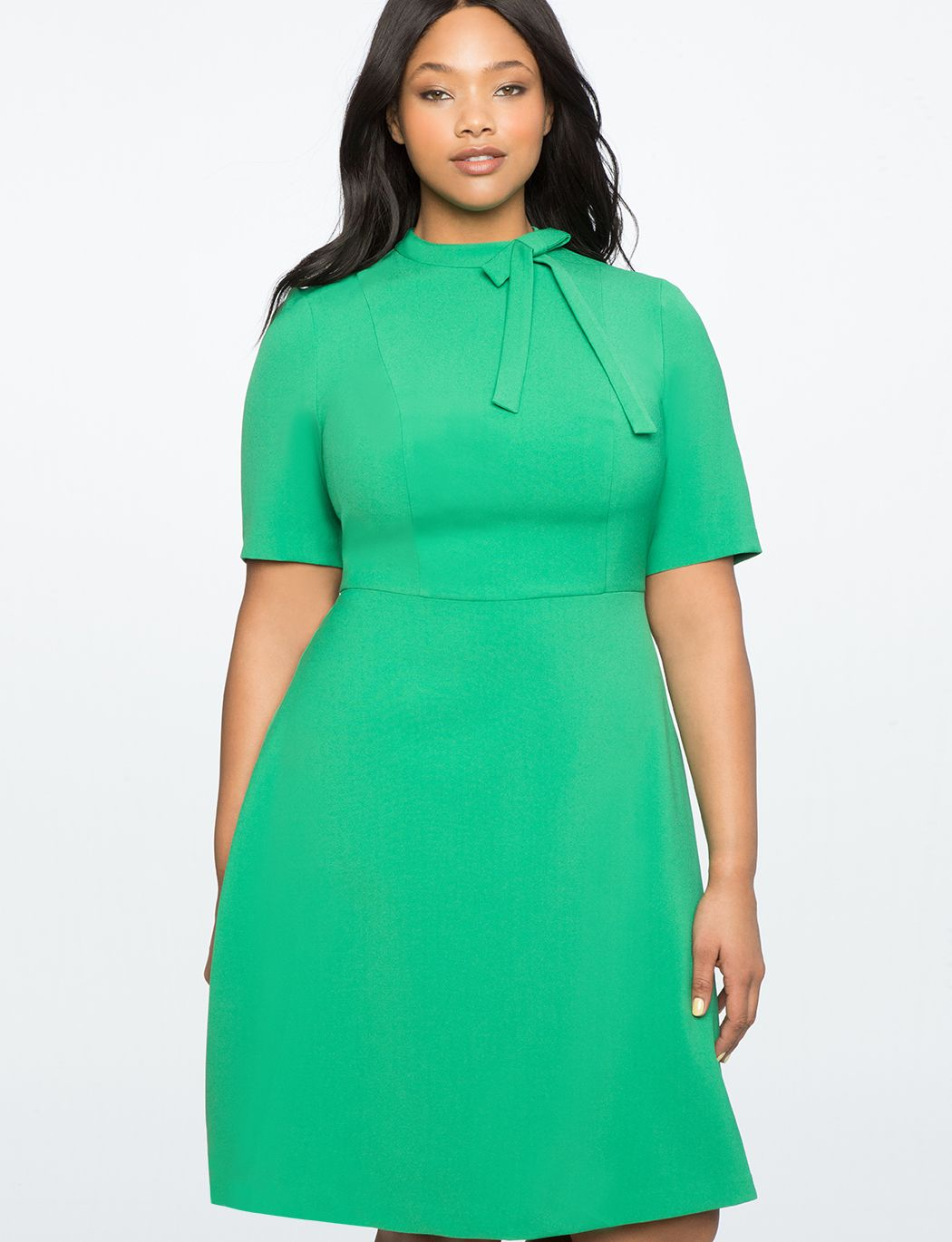 Fit And Flare Work Dress With Bow | Women\'s Plus Size ...