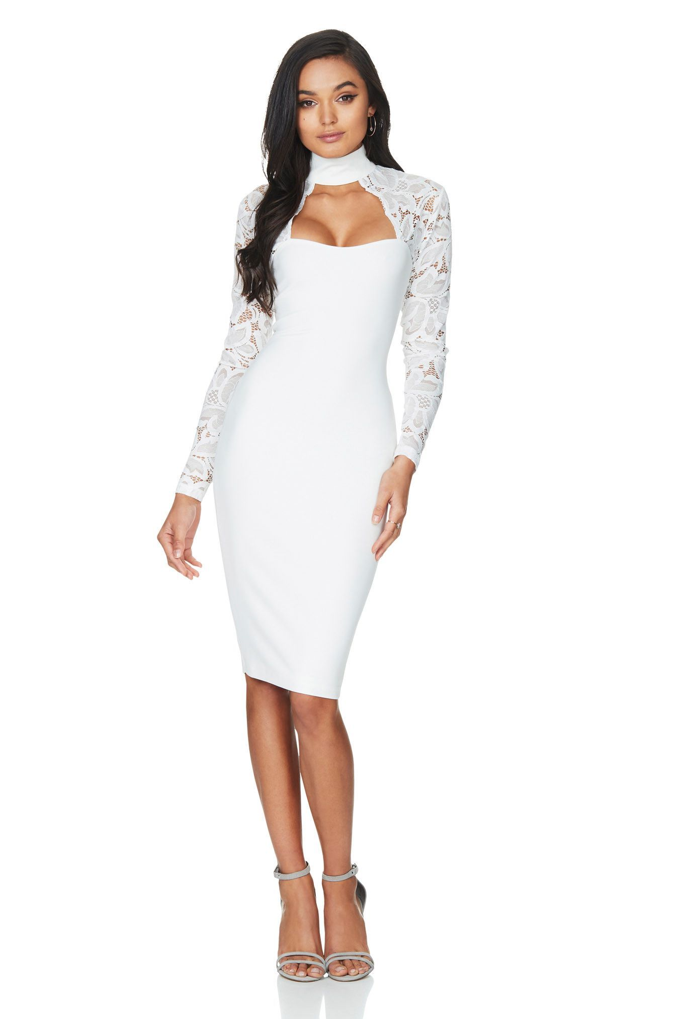 4cb248317df Nookie Lady Lace Long Sleeve Midi Dress - White | NEW ARRIVALS ...