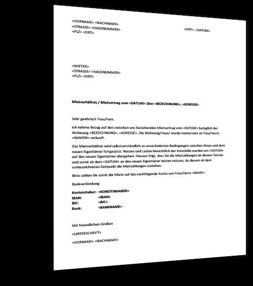 Musterbrief Eigentumerwechsel Mietobjekt