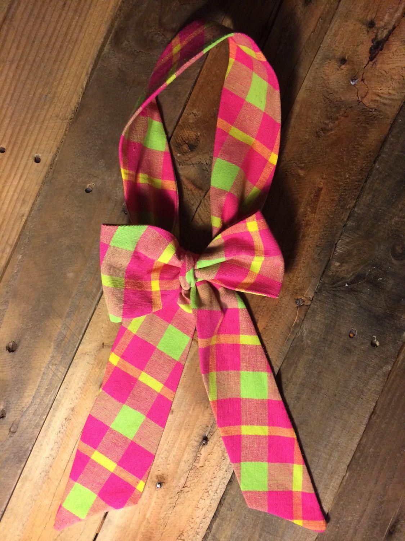 0e6d230f660b pink and green plaid women's bow tie, plaid bow tie, pink bow tie, women's  green bow tie, by shopfaithandbows on Etsy