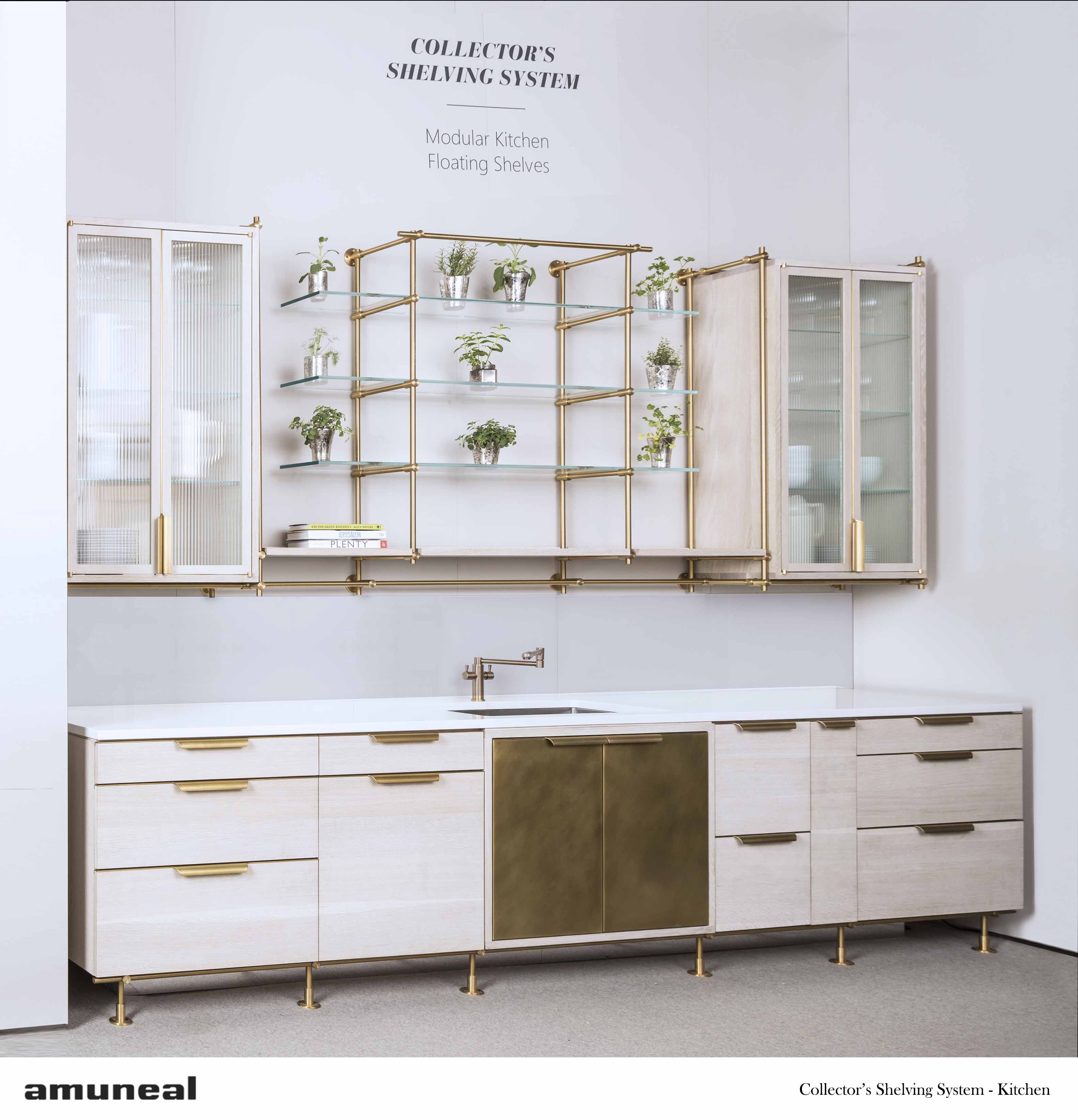 Collectors Shelving U2013 Kitchen Metal Finish: Warm Brass Wood Finish:  Bleached Oak Size As Shown: W X H X D Options Shown: Upper Cabinets With  Ribbed Glass ...