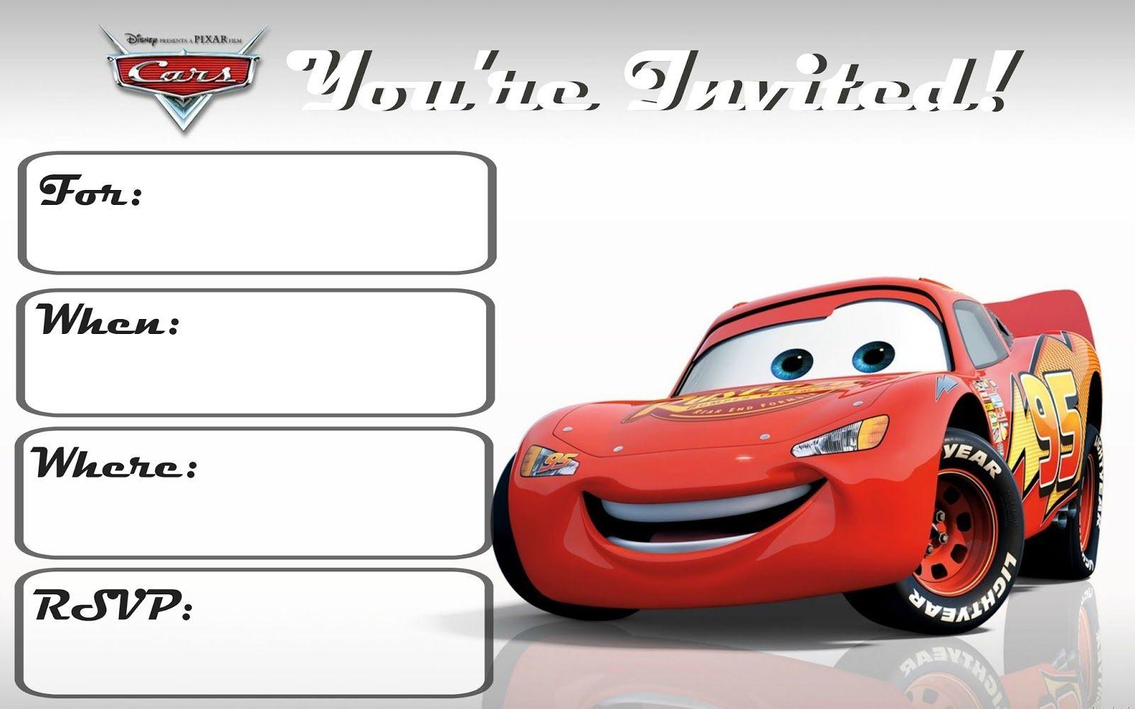 Cars 3: Free Printable Invitations | Pinterest | Cars, Cars ...