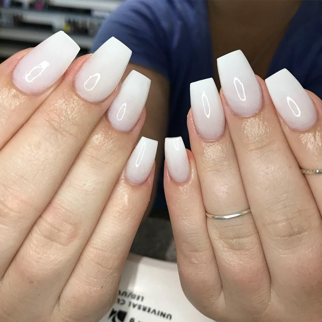 White On White X A Milky Natural White Acrylic I Custom Mixed With White Acrylic Blended In At The Tip Graduation Nails Nails White Acrylic Nails
