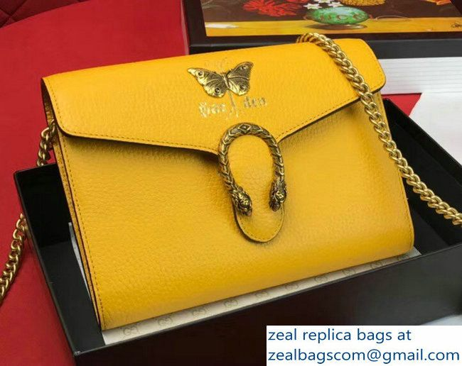 6f76a0c99051 Gucci Garden Dionysus Mini Chain Wallet Bag 516920 Butterfly Yellow 2018