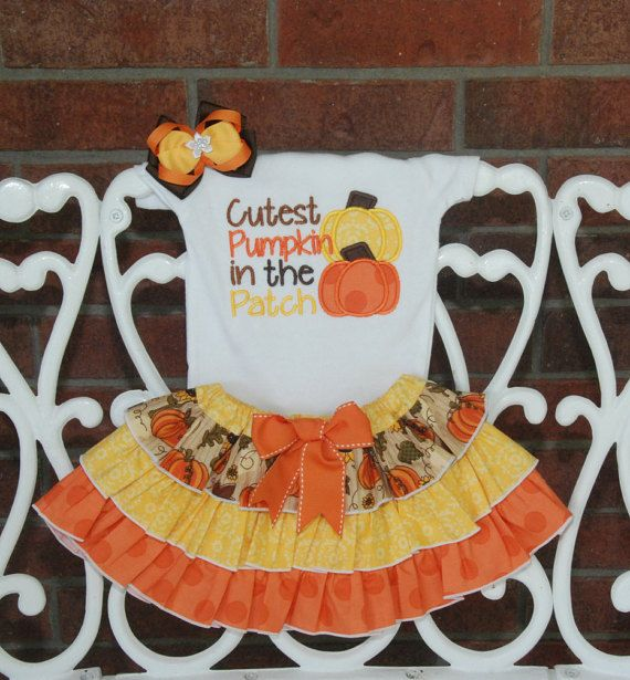 Girls Pumpkin Patch Outfit! *Cutest Pumpkin in the Patch* outfit with applique bodysuit/shirt, ruffle skirt, and hair bow #pumpkinpatchoutfit
