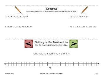Integers Ordering Plotting On Number Line With Answer Key Math Number Sense Number Line Math Integers