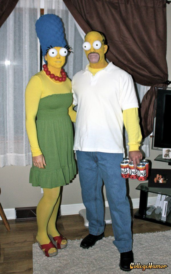 homemade simpsons couple halloween costume idea marge the wig was made from an egg crate foam mattress pad purchased at kmart - Simpson Halloween Costume
