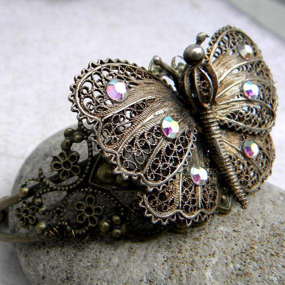 Rhinestone Butterfly Bracelet  Butterfly Bracelet  by Msemrick