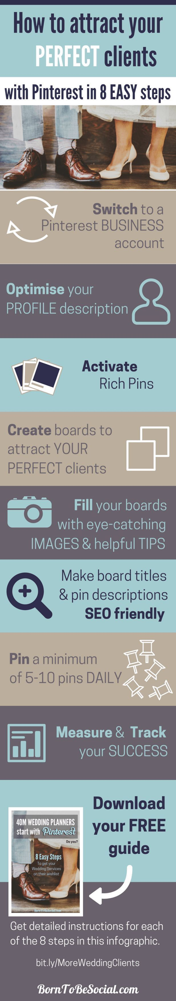 This Is How To Get More Wedding Clients In 8 Easy Steps Pinterest Marketing Infographic And Planners