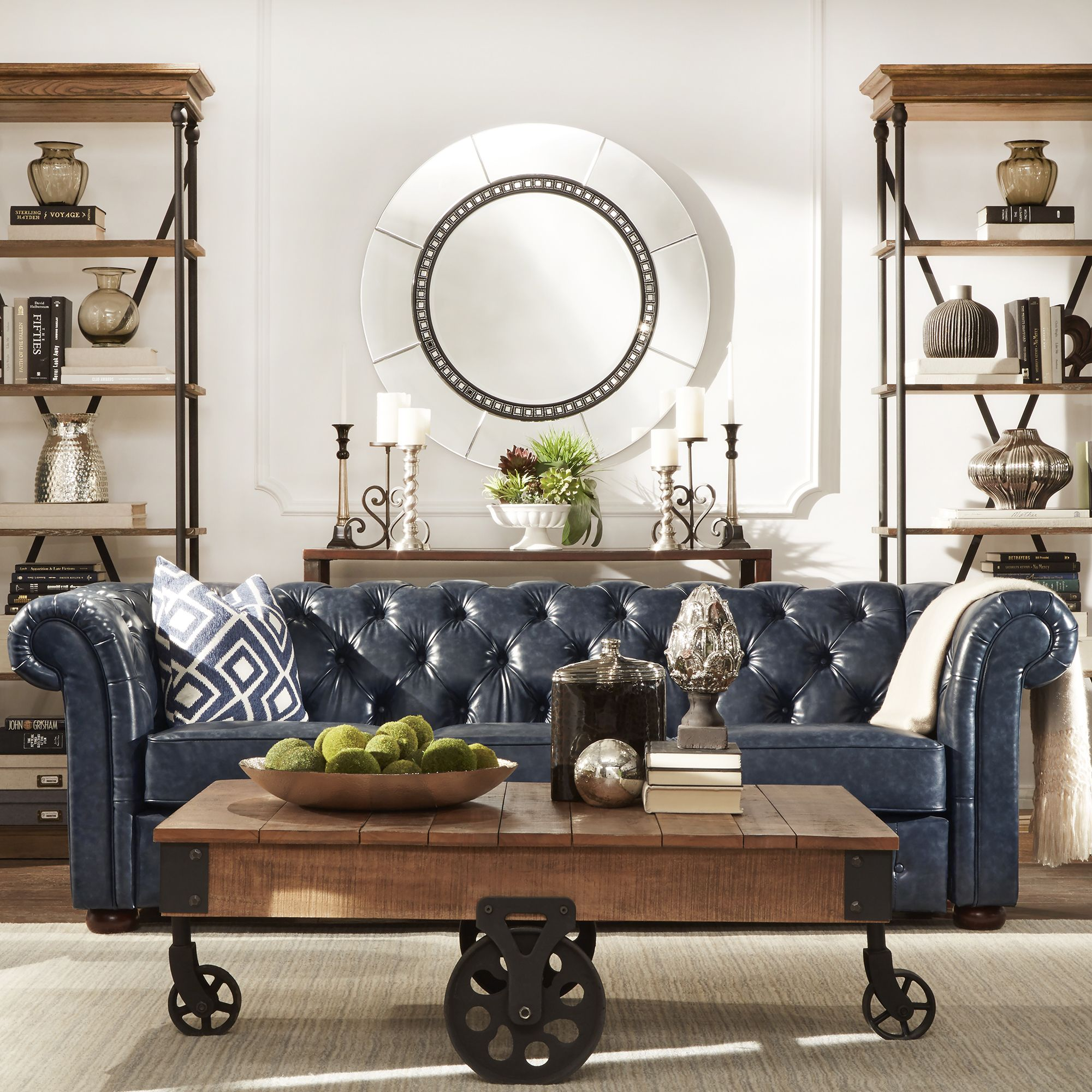 Blue apron edmonton - Signal Hills Knightsbridge Navy Blue Bonded Leather Tufted Scroll Arm Chesterfield Seating By Signal Hills