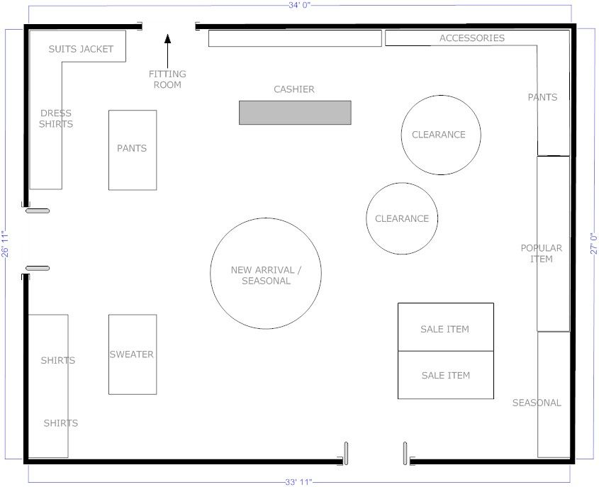 Boutique free flow store layout floor plans pinterest for Make a room layout online