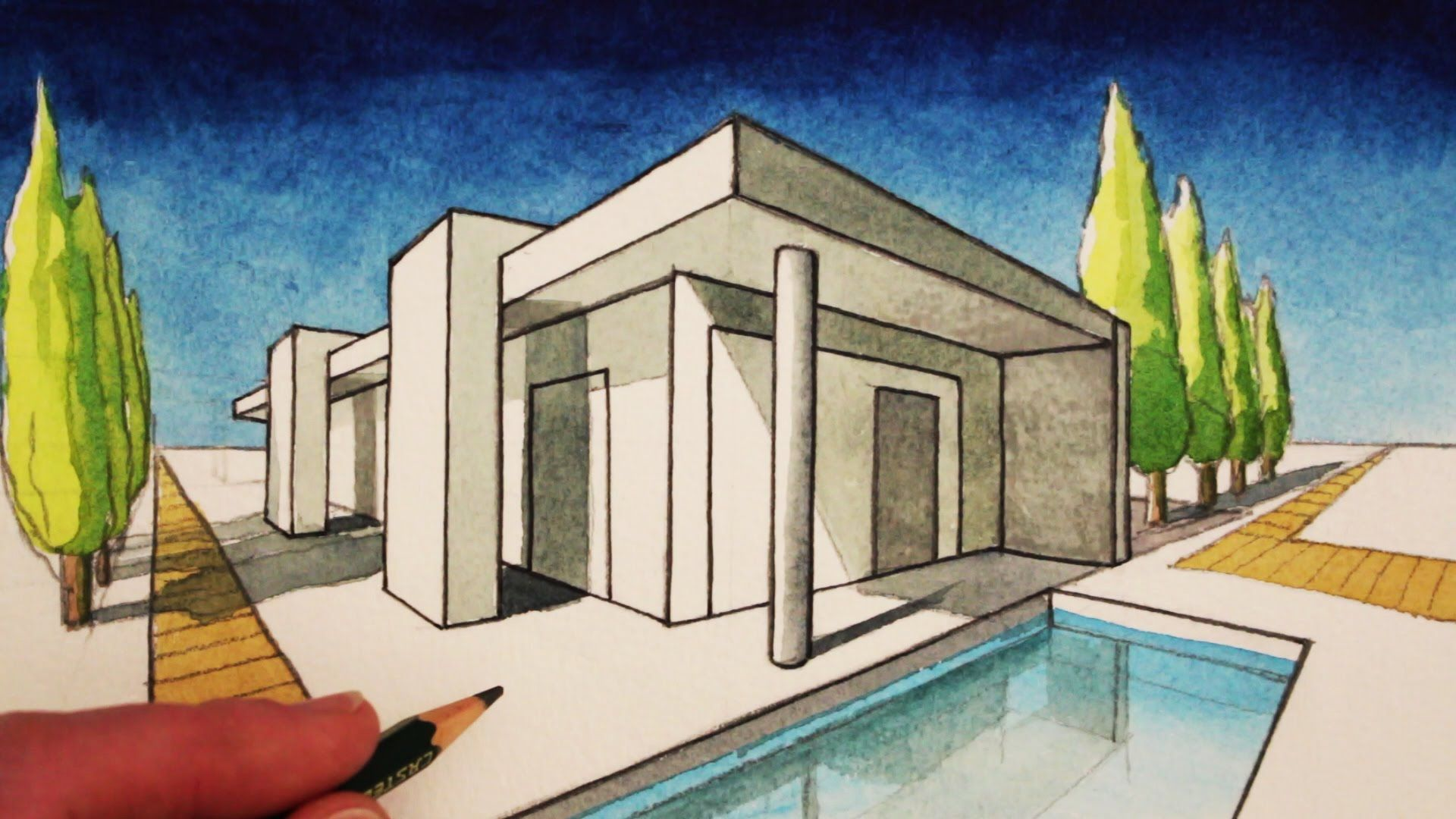 ... Art Tutorial On How To Draw Using Two Point Perspective, Draw A Modern  House. SUBSCRIBE For A New Art Tutorial Every Week: Http://www.youtube.com/ Us.